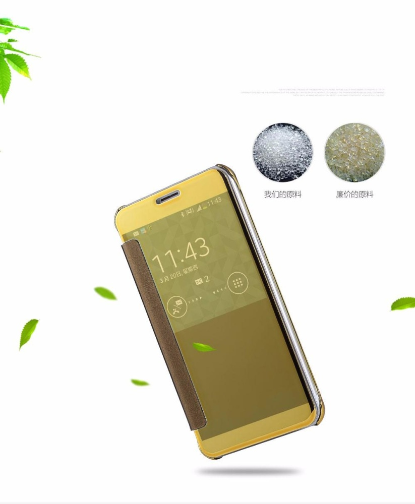 Detail Gambar For Samsung Galaxy C9 Pro Plating Mirror Full Coverage Protective Case Window View Flip