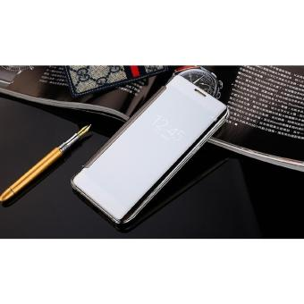Samsung J7 Prime Flipcase Flip Mirror Cover S View Transparan Auto Lock Casing Hp-Silver