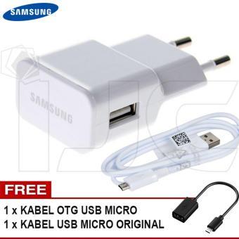 Samsung Travel Charger 10W 2A Original + Free Kabel USB Ori + Free Kabel OTG USB