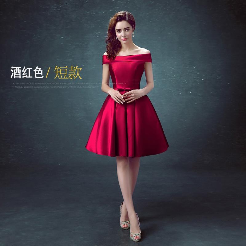 2018 model baru model bahu terbuka Setengah Panjang warna merah Gaun pengantin Gaun malam menikah pengantin