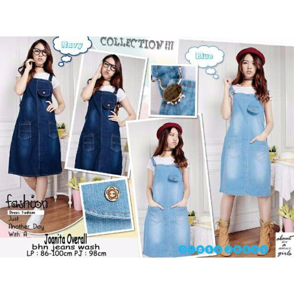 SB Collection Joanita Overall Jeans - Biru Tua Free Inner