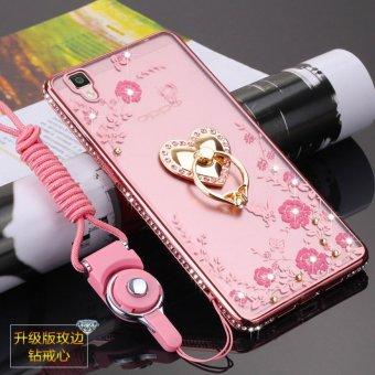 Secret Garden Diamond TPU Back Case Cover For OPPO R7S (Love Rose Gold) -