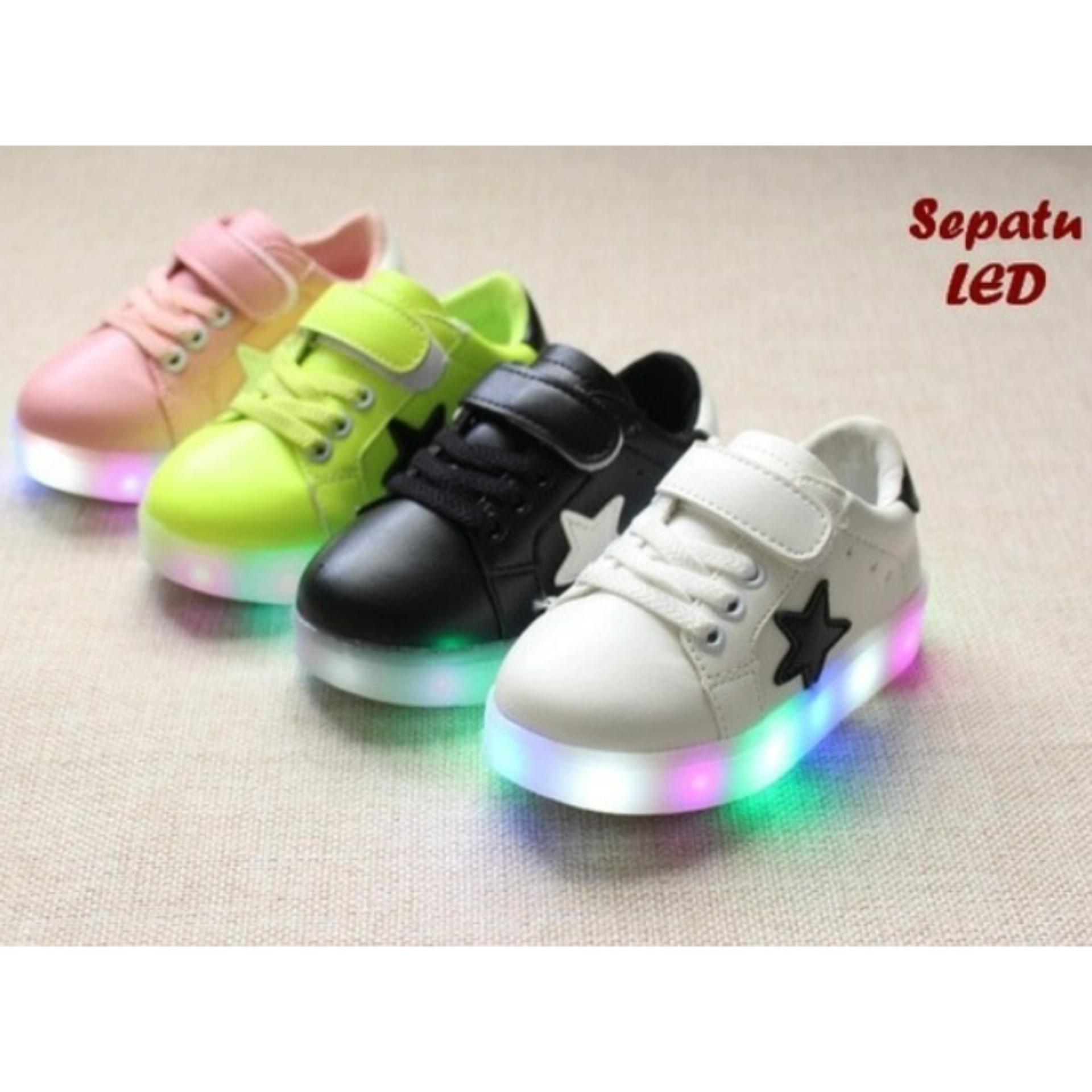Cek Harga Baru Sepatu Sport Anak Glitter Warna Gold Lampu Nyala Led Korek Kuping Keren Dengan Warni