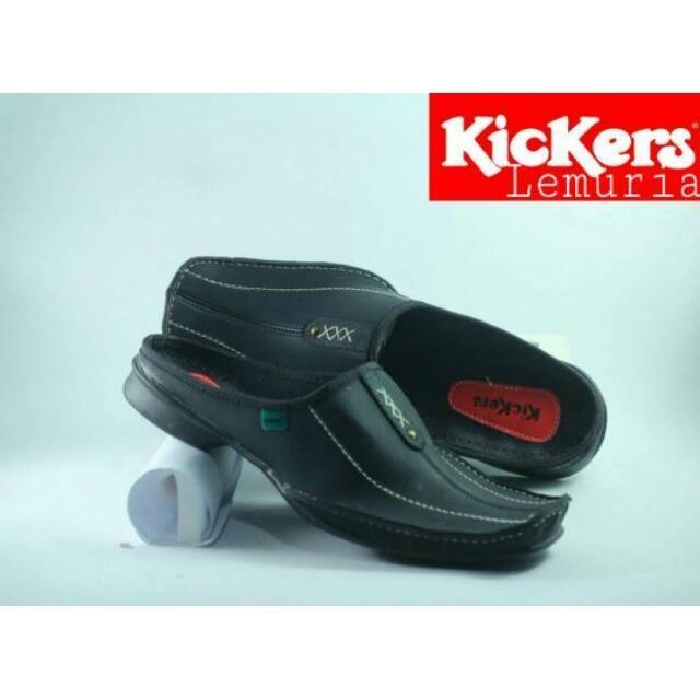 Sepatu Sendal Slop Pria Kickers Slip On Bustong Sandal Bahan Kulit Syntetis