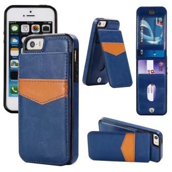 Shockproof Leather Case dengan Pemegang Kartu Premium PU Kulit Kickstand Gesper Magnetik Tahan Lama Dompet Case
