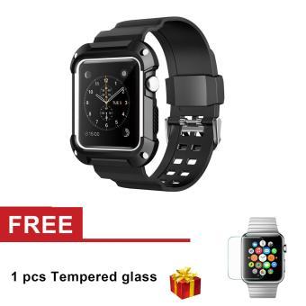 Silicone Tahan Lengan Perlindungan dengan Tali untuk Apple Watch Series 3 Seri 2 Seri 1 38mm