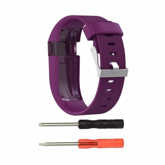 Silicone Watchband Strap Metal Clasp Smart Band untuk Fitbit Charge HR Sport Watch-Intl