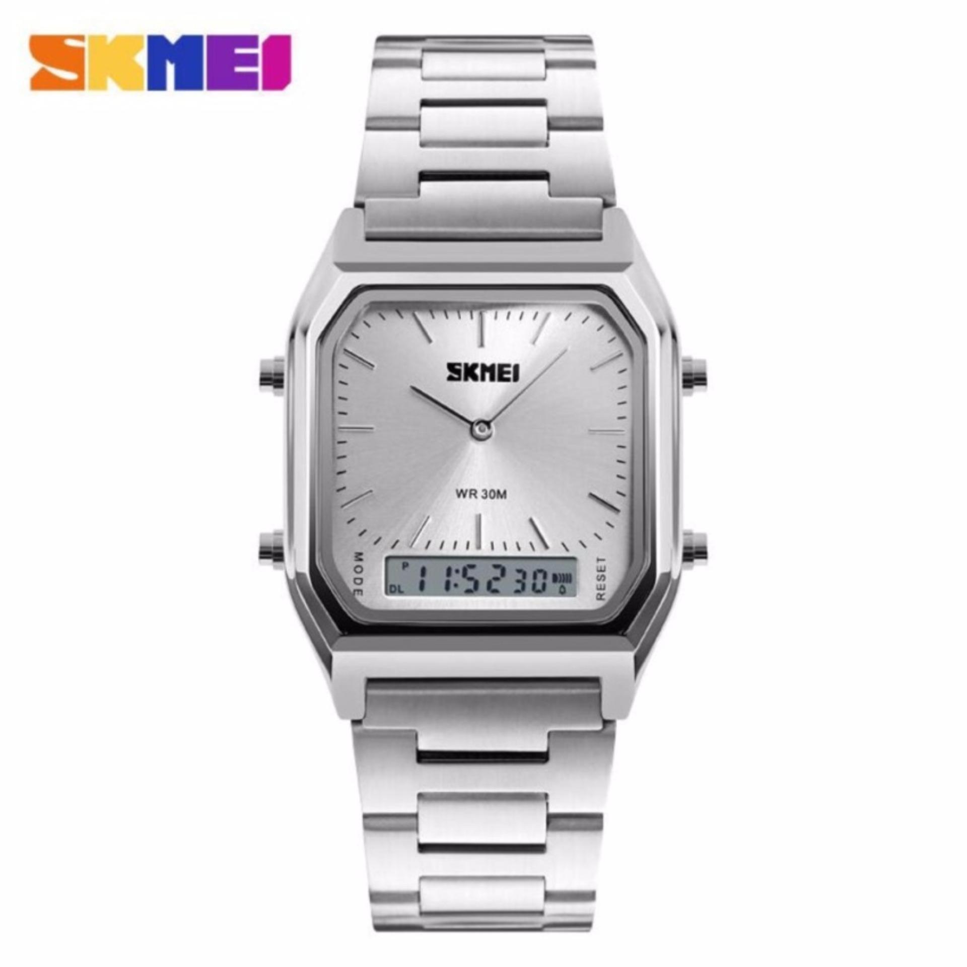 SKMEI Men Sport Quartz Watch Water Resistant Anti Air WR 30m DG1220 Jam Tangan Pria Dual