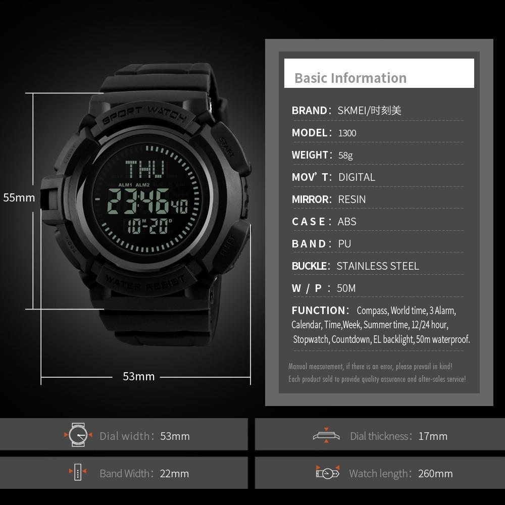 SKMEI Pria Kompas Jam Tangan Olahaga 3 Alarm Waktu Dunia Digital Watch Pria Waterproof Stopwatch Jam