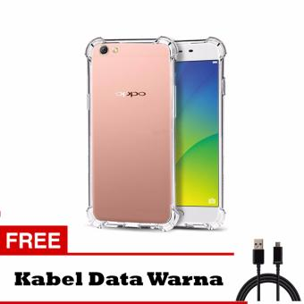 Softcase Anti Shock Anti Crack For Oppo F1S A59 Aircase - Putih Transparant + Free Kabel
