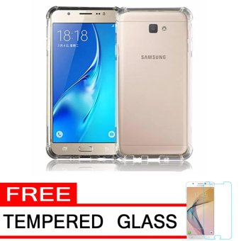 Softcase Silicon Anti Shock / Anti Crack Elegant Softcase  for Samsung Galaxy J5 Prime - White Clear + Free Tempered Glass