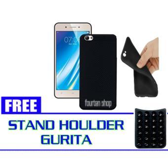 Softcase Slim Black Matte Vivo Y53 + FREE Stand Houlder Gurita