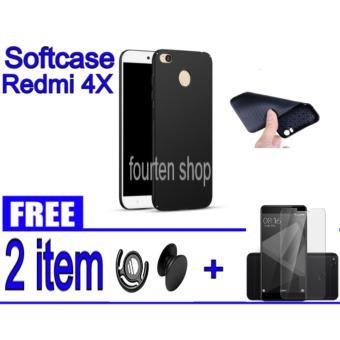 Softcase ultrathin Black Carbon Casing Xiaomi Redmi 4X - BLACK + FREE Popsocket + Tempered Glass