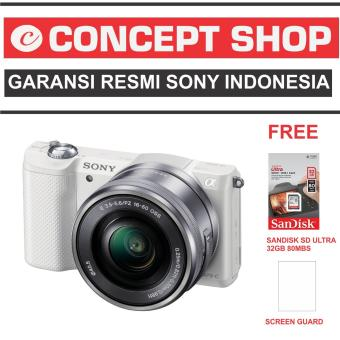 SONY ALPHA A5000 KAMERA DIGITAL MIRRORLESS - LENSA 16-50MM - 20.1MP- WHITE RESMI