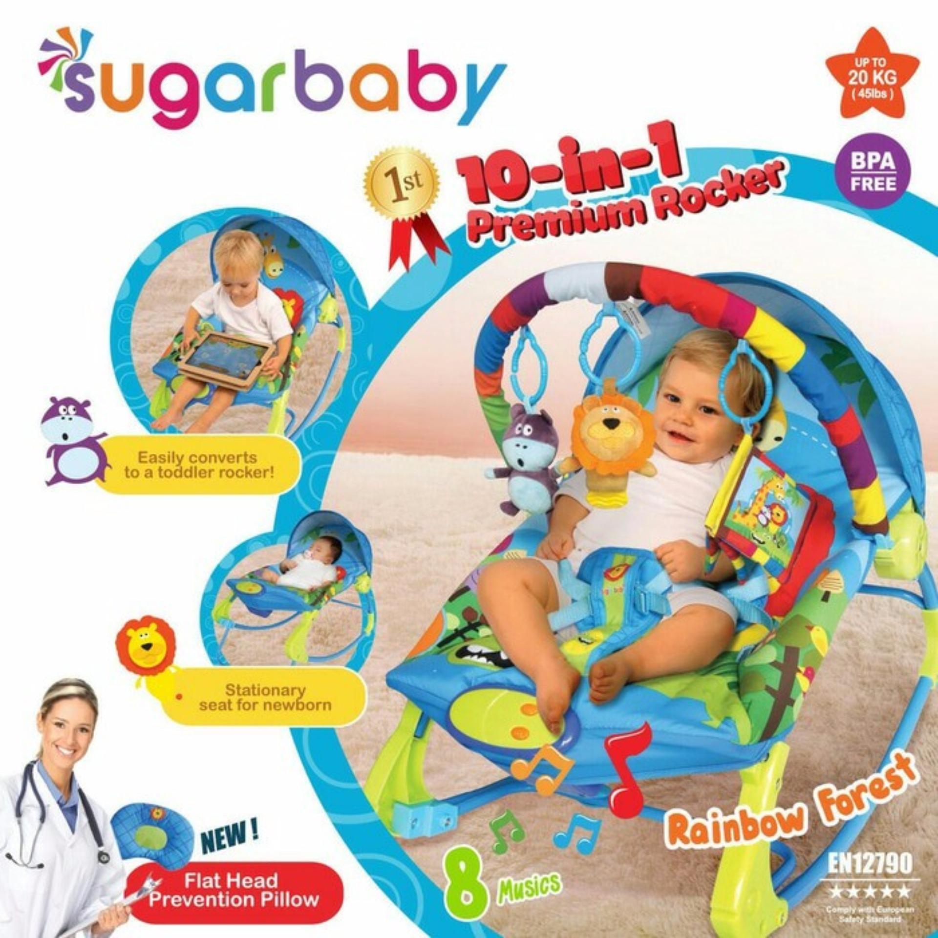 Sugar Baby 10 in 1 Premium Rocker Bouncer - Rainbow Forest - Ayunan Bayi - kursi