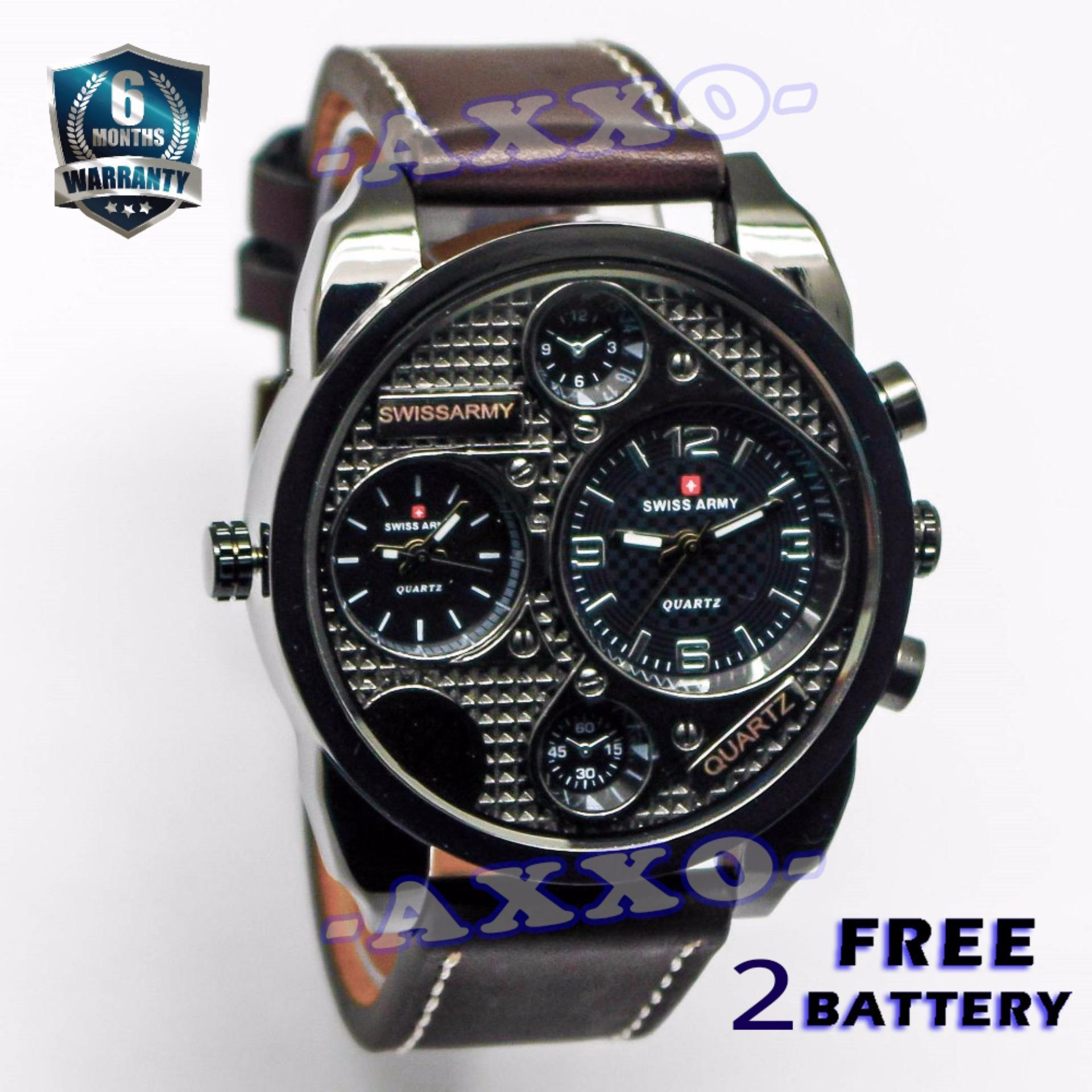 Swiss Army Dual Time - Jam Tangan Pria - Coklat Tua - Strap Kulit - SA 9100-1 L ...