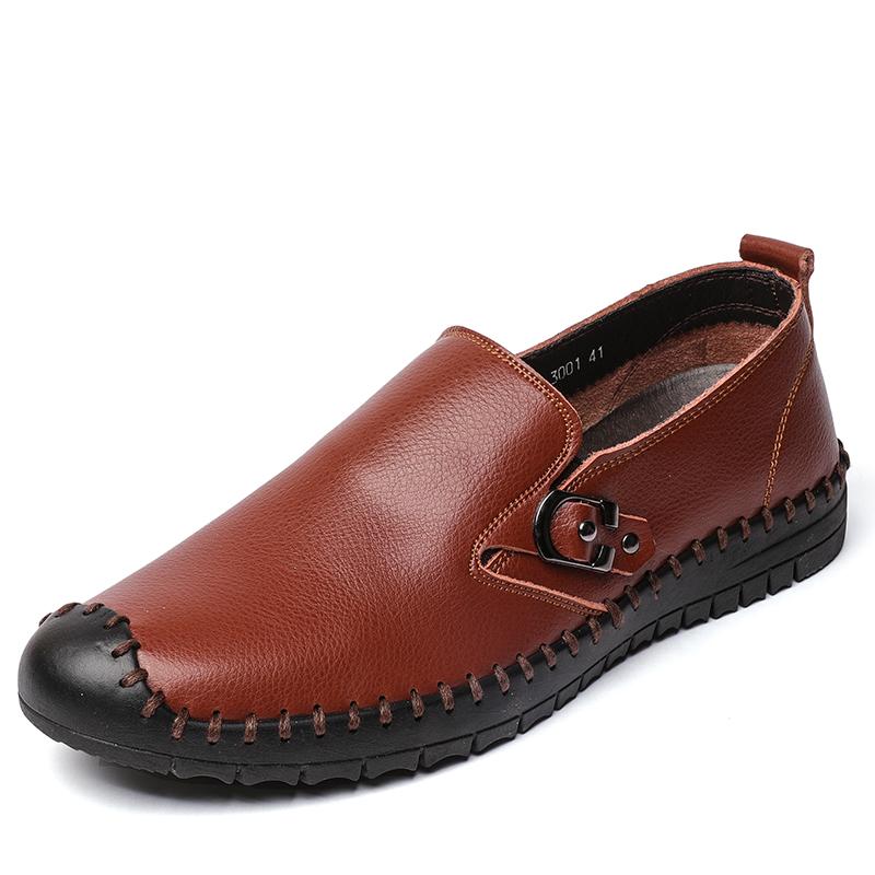 Sepatu Kulit Kasual Sepatu Kulit Hitam Rajut (Coklat)