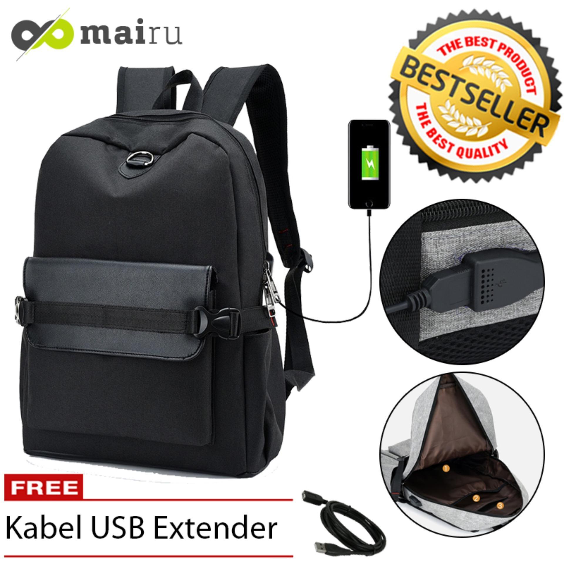 Tas Ransel Laptop Backpack Import Untuk Pria Wanita Anak Sekolah - Support  USB Port Charger -. Brands  Mairu 93461878e2