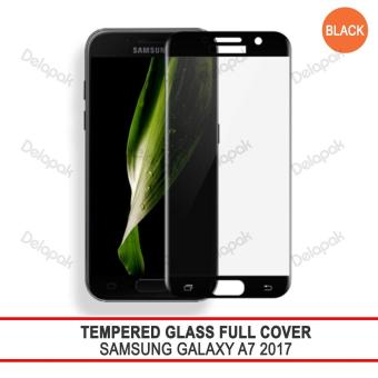 Tempered Glass Warna Full Cover Screen Protector Anti Gores for Samsung Galaxy A7 2017 - Black