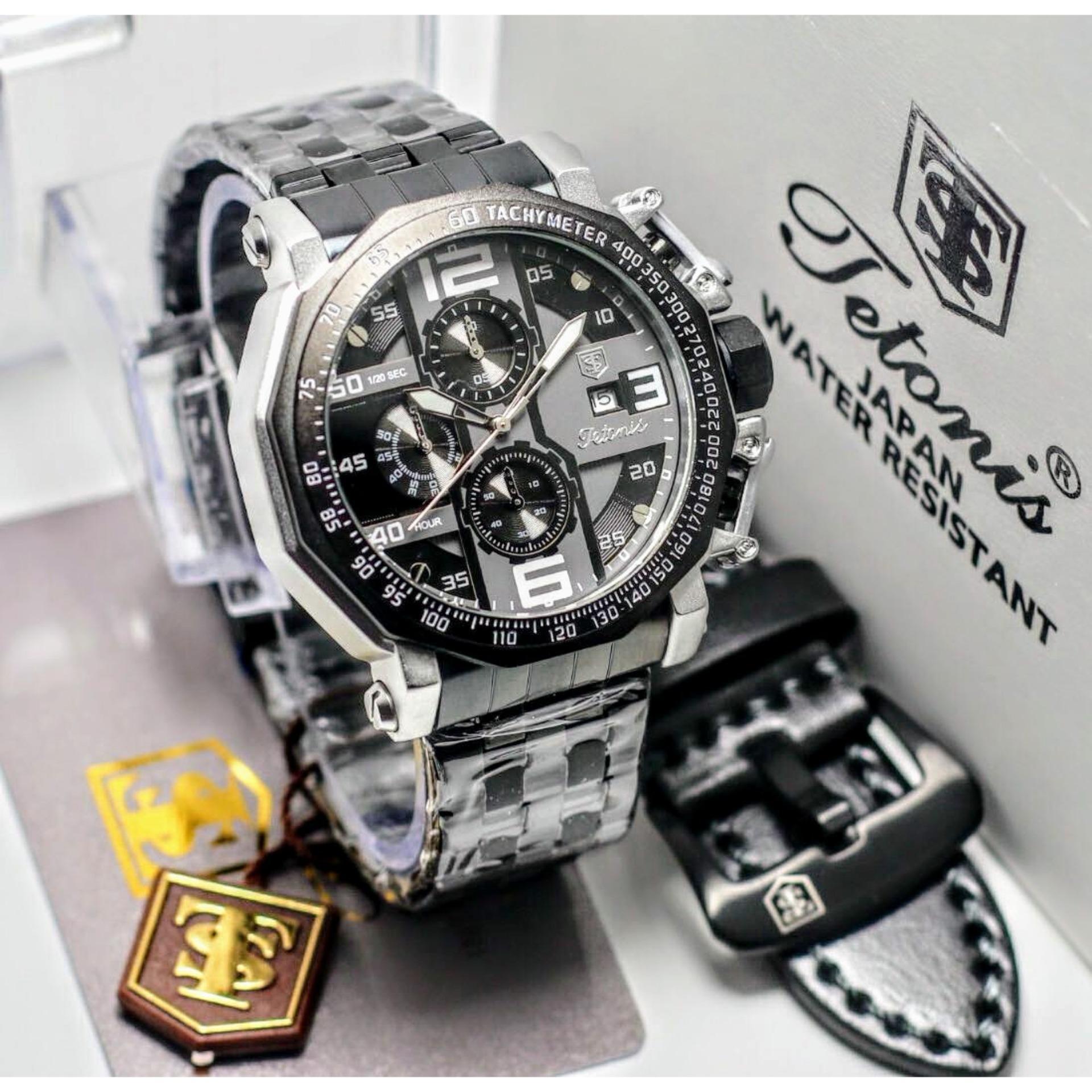 Kehebatan Jam Tangan Quicksilver Tanggal Hari Aktif Tali Kulit Kemeja Original Coklat Tetonis Pria Fashion Elegant Keluaran Terbaru Chronograph Bonus