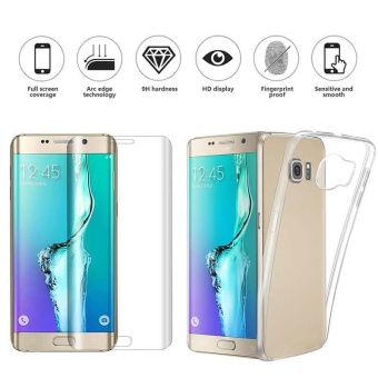 Tipis Clear TPU Gel Case & Tempered Glass Cover untuk Samsung Galaxy S6 Edge Plus-
