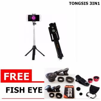 Tongsis 3 in 1 With Bluetooth + Tripod Selfie Stick + Gratis Fish Eye Lensa Super