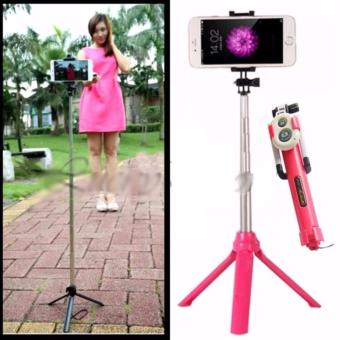 Tongsis 3 in 1 With Bluetooth + Tripod Selfie Stick - Pink - 1 Pcs