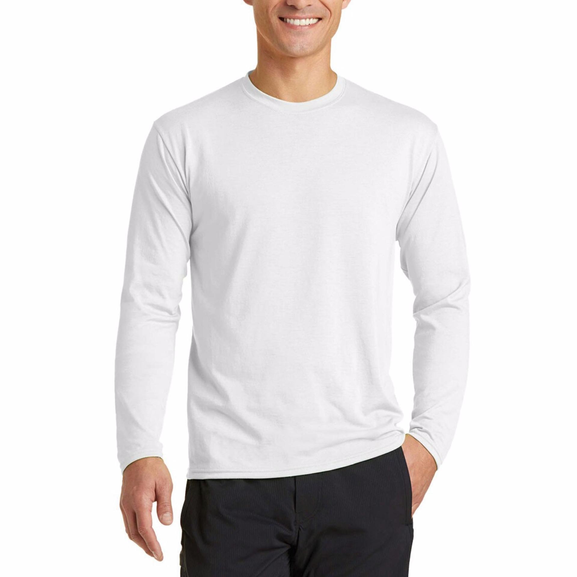 Tradeold T-shirt O-neck Kaos Polos Lengan Panjang - Putih ...