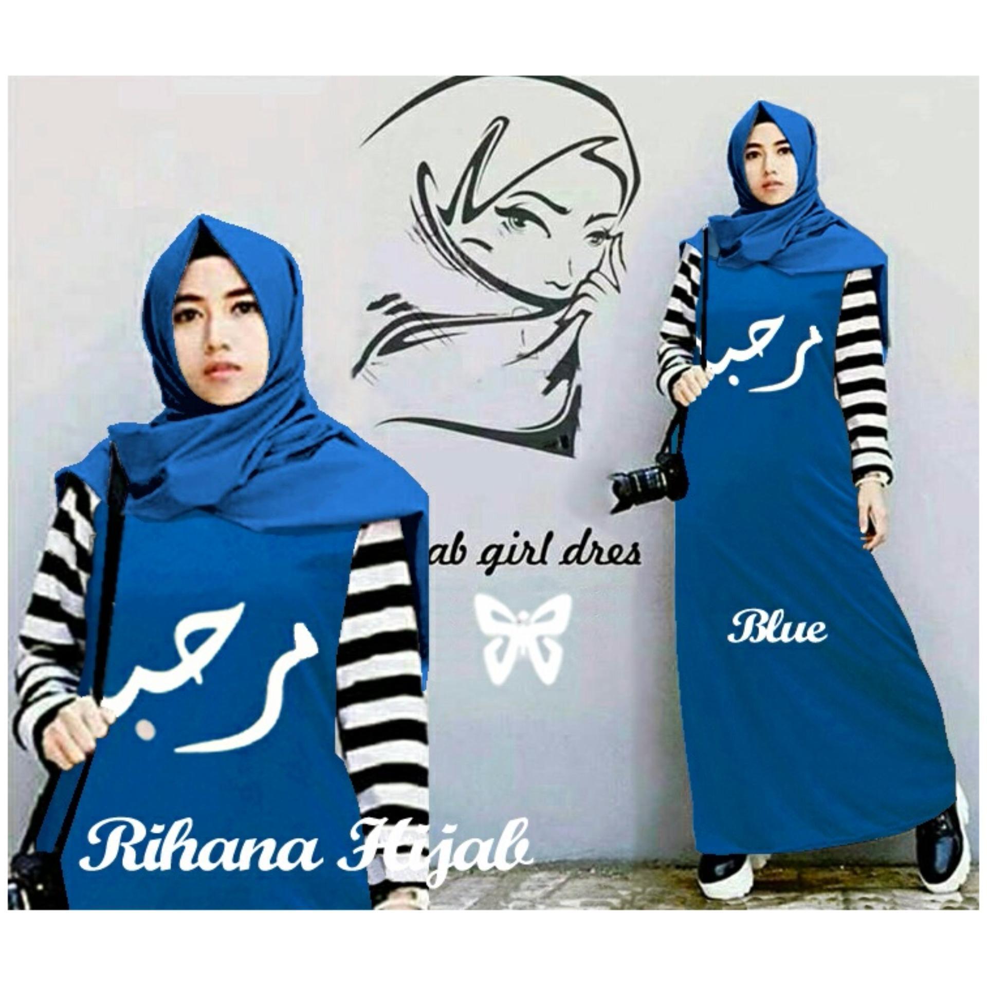 Trend Baju - Maxi Spandek Tangan Salur Uk L - Blue