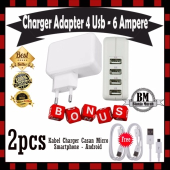 Trend's Charger Adaptor 6 Ampere 4 Port USB Charger Gratis 2 Pcs Kabel Charger Micro Usb