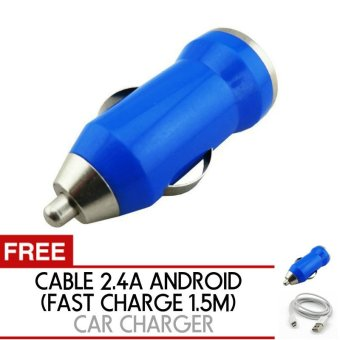 Trend's Car Charger 1A 1 Port - Casan Mobil Free Kabel 2.4A Fast Charge Sync 1.5m + Charger mobil