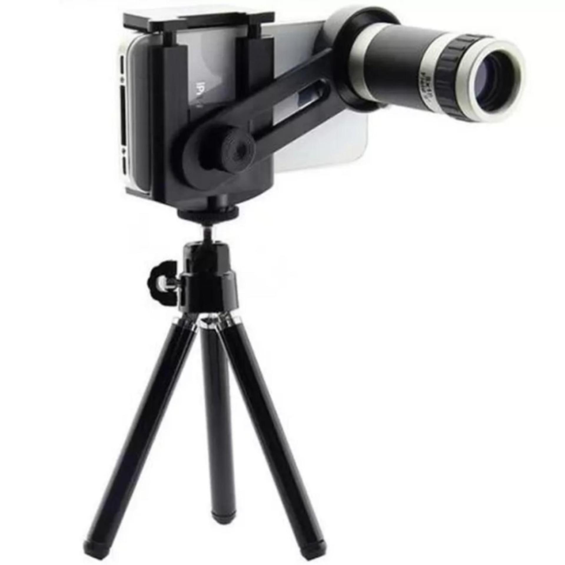 Hot Deals TRIPOD TELEZOOM - Lensa Telezoom 8x for Smartphone Include Tripod Mini - Hitam terbaik