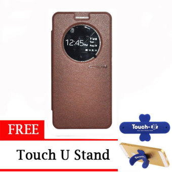 TUNEDESIGN FolioAir Leathercase Asus Zenfone 6 Brown/Coklat Book Cover Book Case Flip Cover Flip