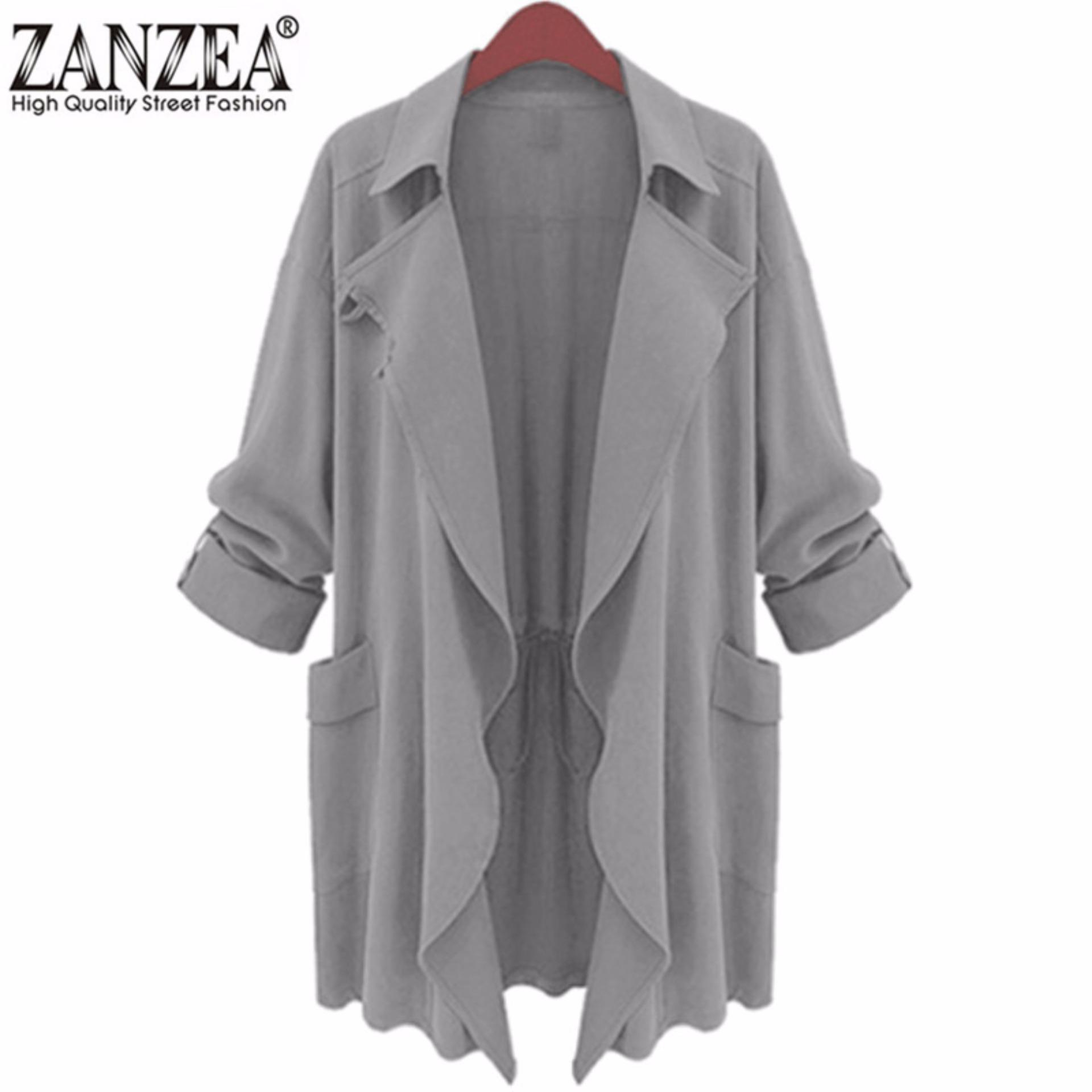 Ukuran Wanita Berkerah Lama Chiffon Parka Cardigan Jaket Trench Coat Baru Grey Ukuran M-5