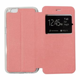 Ume Leather Cover Oppo A39 Leather Case Sarung / Flipshell / Flip Cover Kulit / Sarung HP / Flip Cover Oppo A39 / Sarung Handphone Kulit Sintetis - Pink Muda / Pink Peach
