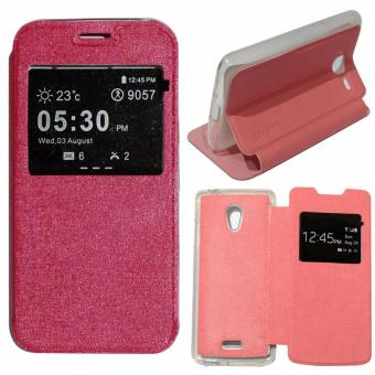 Ume Leather Cover Oppo Joy R1001 Leather Case Sarung / Flipshell / Flip Cover Kulit Oppo R1001 / Sarung HP / Flip Cover Oppo Joy / Sarung Handphone Kulit Sintetis s - Pink / Merah Muda