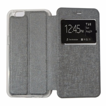 Ume Leather Cover Oppo Neo 5 A31 /  Oppo A31T Leather Case Sarung / Flipshell / Flip Cover Kulit / Sarung HP / Flip Cover Oppo Neo 5 A31 /  Oppo A31T / Sarung Handphone Kulit Sintetis - Silver