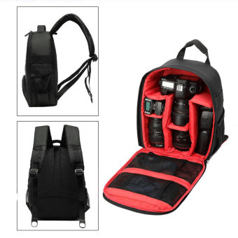 Universal Tas Kamera SLR Camera DSLR Backpack for d7100 Small Compact with Pocket - Black/Red