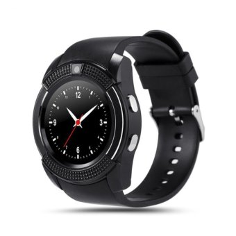 V8 Smart Watch Calling Clock Camera Smartwatch For Android IOS - Hitam