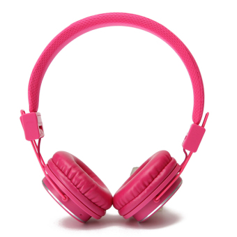 Wireless Over-Ear Headphone Stereo Olahraga Bluetooth Earphone dengan MIC Pink