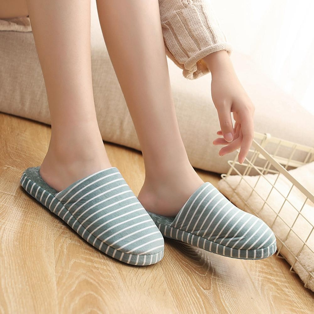 Women Men Striped Indoor Slippers Home Anti-Slip Winter Soft Warm Shoes GN/39
