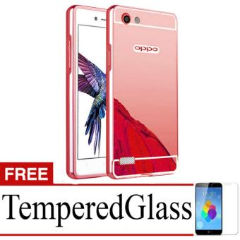 X Case Mirror  Aluminium Bumper For  Oppo Neo 7 (A33) Free Tempered Glass - Rose Gold
