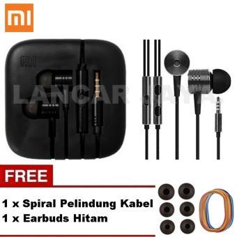 Xiaomi Earphone Big Bass Piston Mi 2 Generation Handsfree/Headset_Hitam + Gratis Earbuds + Spiral