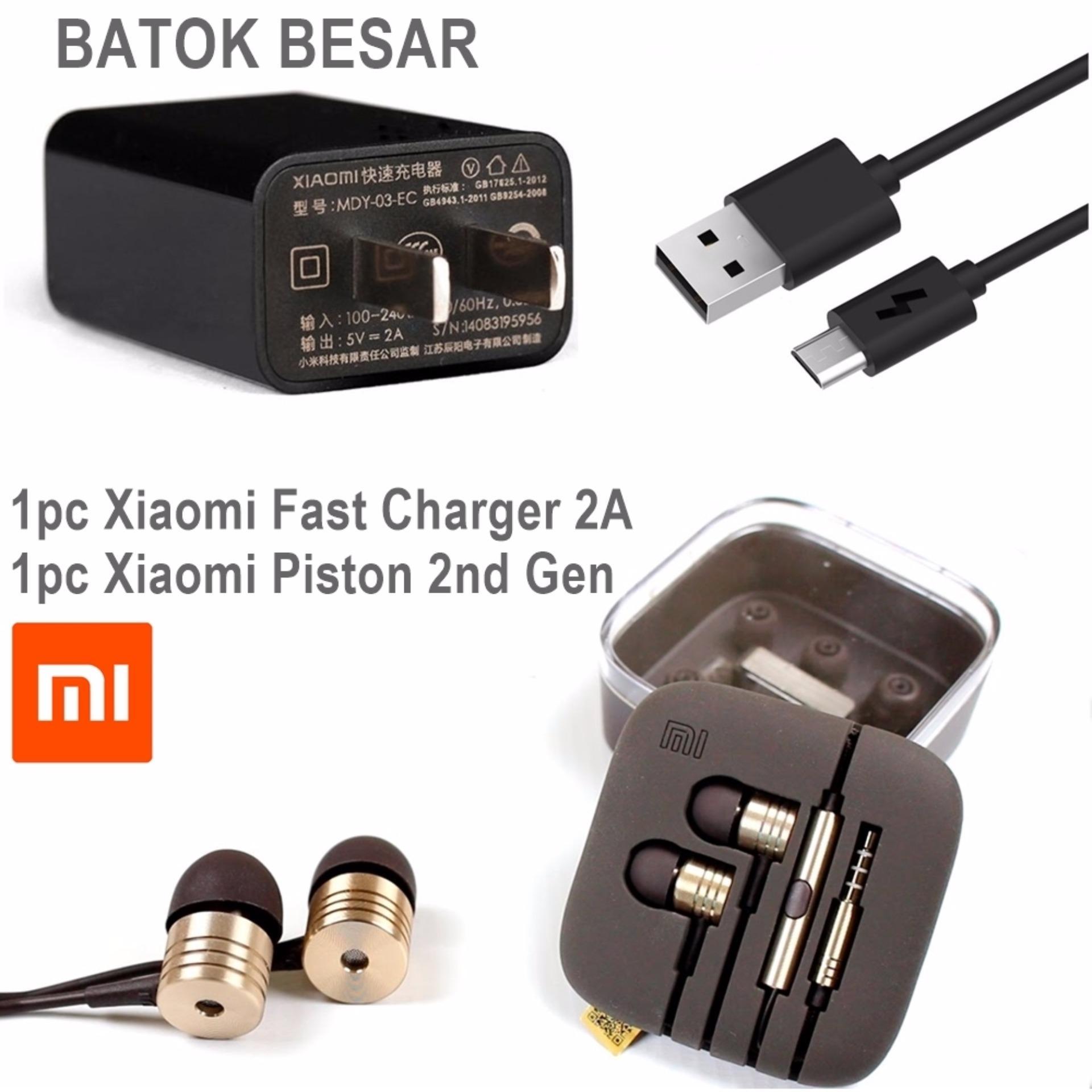 Xiaomi Fast Charge 2A Micro USB Original + FREE Xiaomi Piston 2nd Gen Earphones Headset Handsfree