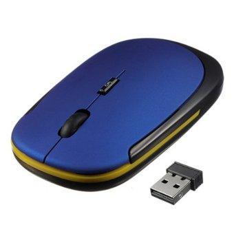 ... YBC Mini tipis 2 4G USB mouse optik nirkabel untuk komputer PC Biru