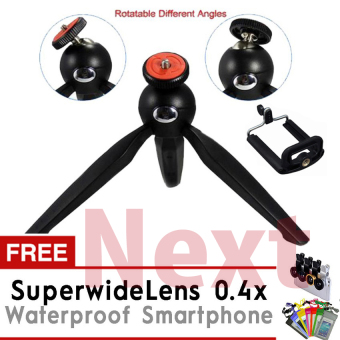 Yunteng Mini Tripod YT- 288 + Holder U + Waterproof Smartphone + Lensa Superwide