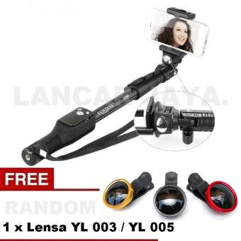Yunteng Tongsis Monopod Bluetooth YT-1288 / Selfie Stick (Hitam) + Lensa YL