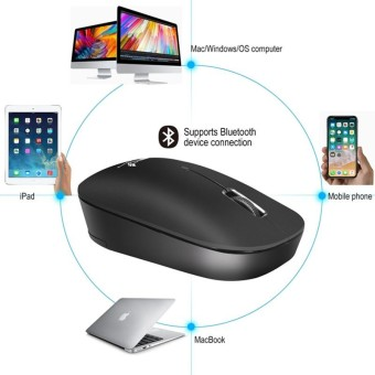 ZERODATE T18 Bluetooth Mouse 3 Tombol 1600 DPI Ergonomi Optical Mouse-Intl