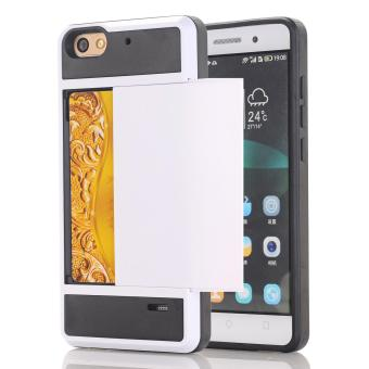 Zoeirc Dompet Kasus Kartu Pocket Dual Layer Hybrid Bumper Karet Kartu Pelindung Cover untuk Huawei Honor