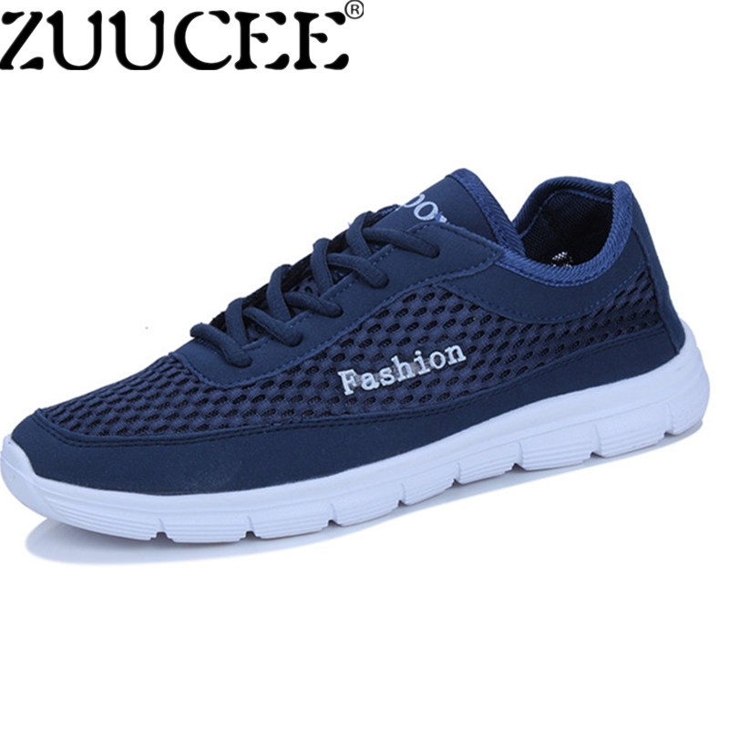 ZUUCEE Men Big Size Shoes Casual Breathable Sports Shoes Laces Low-cut Net Cloth Shoes (dark blue) - intl